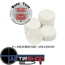 """250 Patchs ronds Bore Tech 1 1/2"""" Calibre .25 Cal., 6.5 mm, .270 Cal., .284 Cal., 7 mm, .357 Cal., .38 Cal., 9 mm sur Tactirshop"""