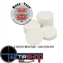 "250 Patchs ronds Bore Tech 2"" Calibre .308 Cal., .338 Cal., .40 Cal., 10 mm, .44 Cal., .45 Cal. sur www.tactirshop.fr"