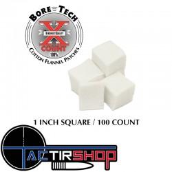 """100 patchs carrés Bore Tech 1"""" pour calibre 22 long rifle sur www.tactirshop.fr"""