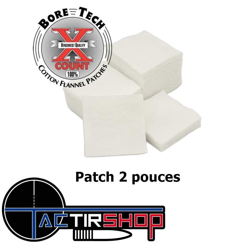 "250 Patchs carré Bore Tech 2"" Calibre .308 Cal., .338 Cal., .40 Cal., 10 mm, .44 Cal., .45 Cal. www.tactirshop.fr"